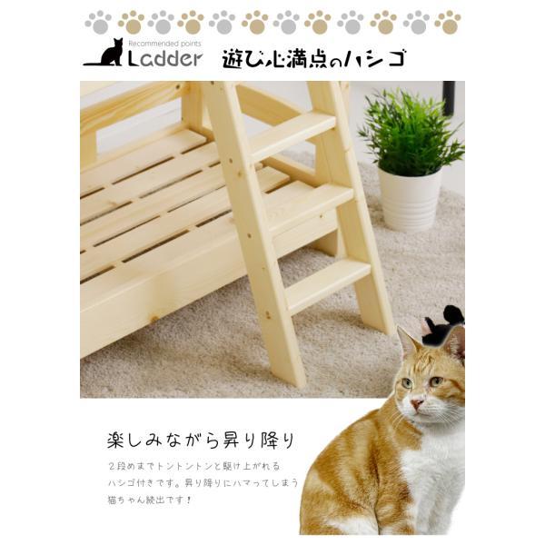 猫ベッド 猫用2段ベッド ネコベッド パイン材 カントリー調 夏 すのこ 無垢 天然木|eckagudepo|06