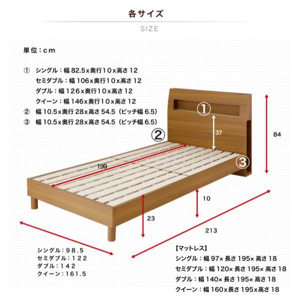 ベッド セミダブル 圧縮マットレス付き セミダブルベッド 棚 コンセント ライト付 北欧 モダン 木製 eckagudepo 09