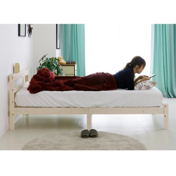 ベッド シングル ボンネルコイルマットレス付き カントリー調 パイン 無垢 天然木 宮棚 完全ノックダウン|eckagudepo|11