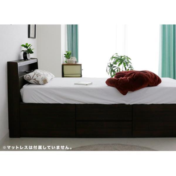 ベッド シングル シングルベッド フレームのみ 収納 引き出し 床板下収納 宮付 コンセント付き 木目調 北欧 モダン|eckagudepo|11