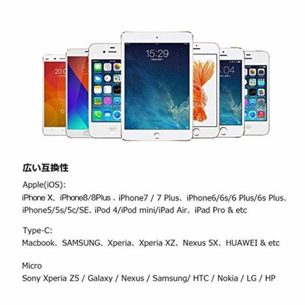 3in1 USB 充電ケーブル 急速充電 iPhoneケーブル 充電器 マイクロ USB C micro Lightning スマホ アイフォーン ナイロン 充電 ケーブル iOS Android|ecloset-store|07