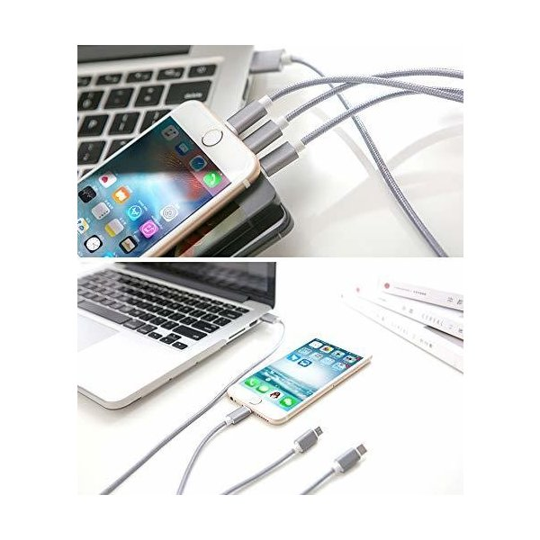 3in1 USB 充電ケーブル 急速充電 iPhoneケーブル 充電器 マイクロ USB C micro Lightning スマホ アイフォーン ナイロン 充電 ケーブル iOS Android|ecloset-store|08