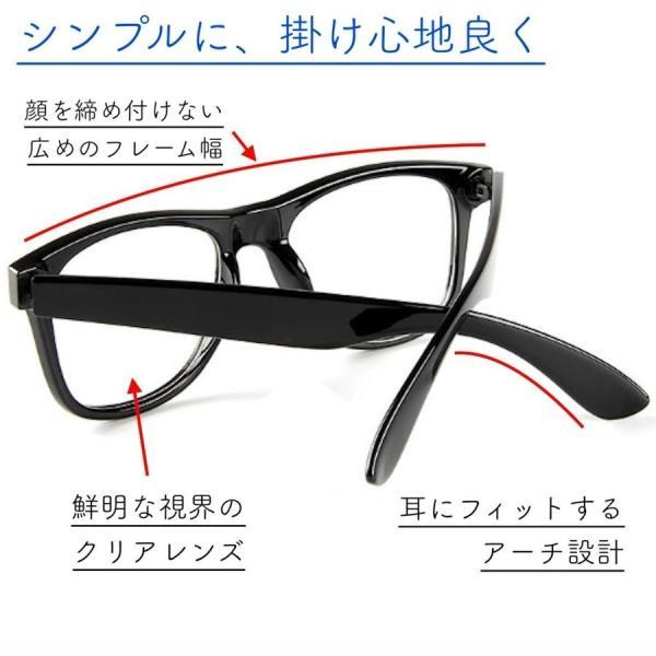 伊達メガネ PCメガネ ブルーライトカット 眼鏡 UVカット 花粉症 PM2.5 対策 目の防護 ウェリントン 黒縁 おしゃれ メンズ レディース メガネケース 眼鏡拭き 付|ecloset-store|06