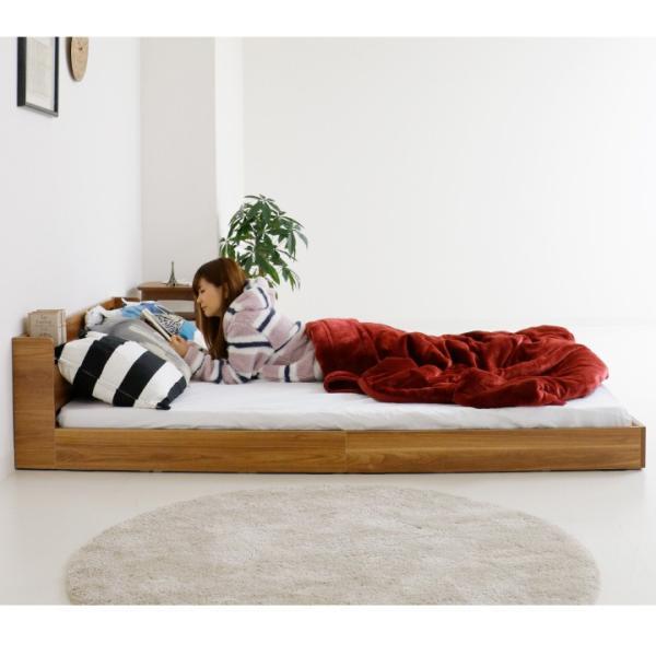 ローベッド ベッド セミダブル 圧縮マットレス付き コンセント付き 宮付き 木製 フロアベッド|ecmeubles|12