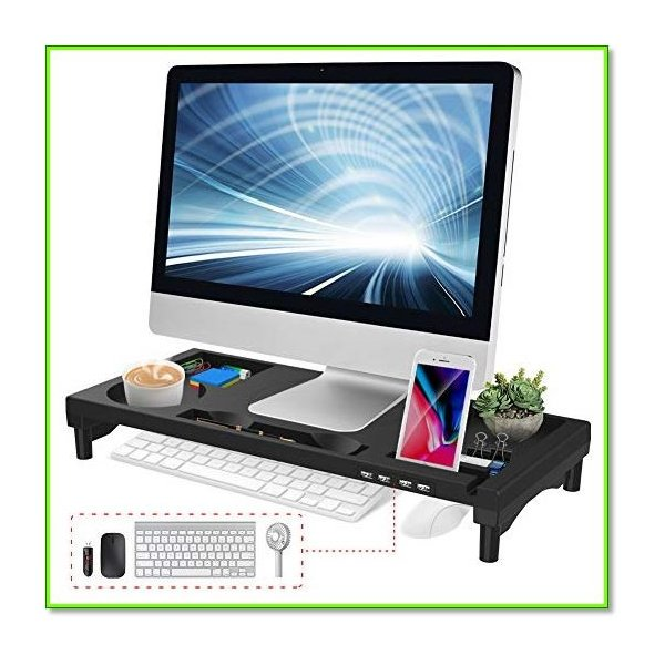 モニター台 4USBポートパソコン台 モニタースタンド 大容量 机上台 収納ラック 日本語説明書 0976|eco2