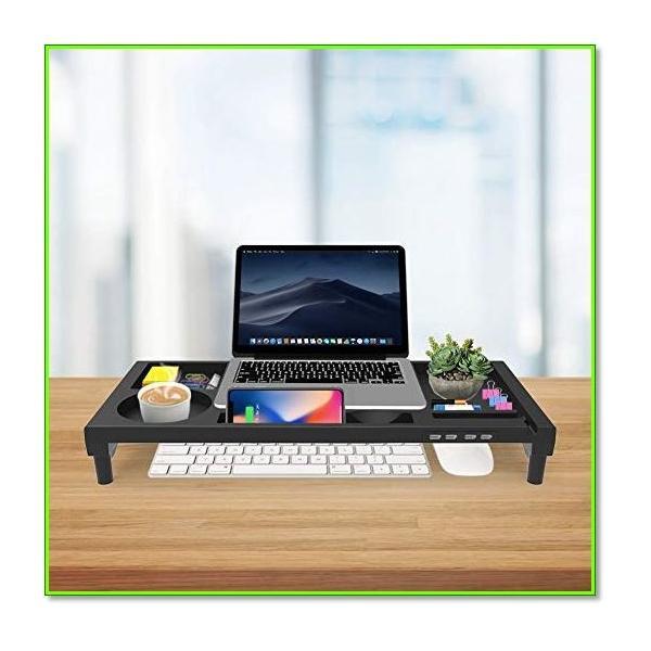 モニター台 4USBポートパソコン台 モニタースタンド 大容量 机上台 収納ラック 日本語説明書 0976|eco2|05