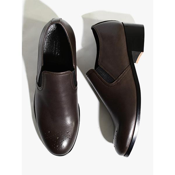 パドローネ PADRONE サイドゴアシューズ 25.5-27.5cm ダークブラウン レザー 革靴 スリッポン IN LIMITED ORDER SHOES -DARK BROWN-