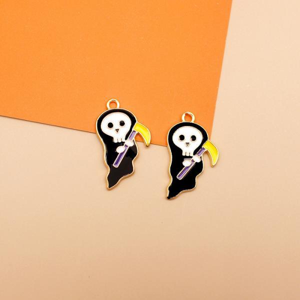 【即納 2ケ】ハロウィン グッズ 幽霊 チャーム キーホルダー バック チャーム マスク チャーム 金具 アクセサリー カン付 16*28mm