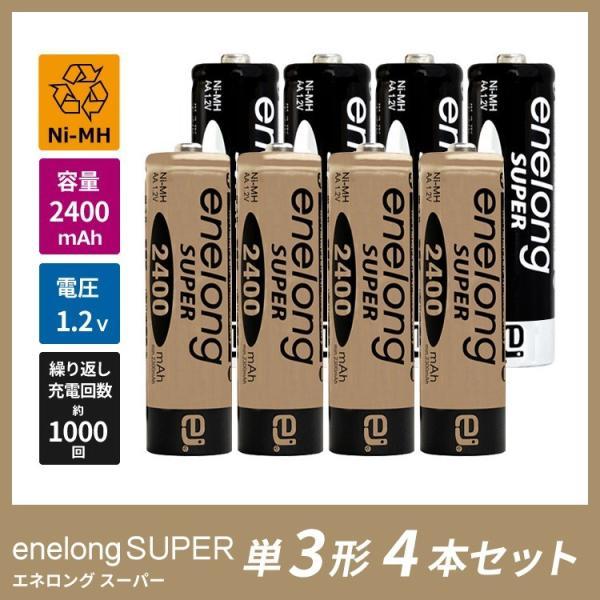 繰り返し使える単3形充電式乾電池エネロングスーパー×4本セット(簡易ビニールエコパッケージ)|ecojiji