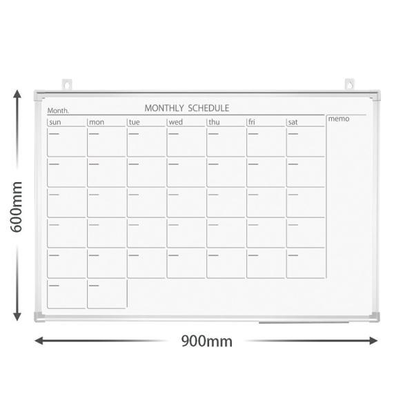 プラス (PLUS) ホワイトボード 904×604mm 壁掛カレンダー (黒マーカー、イレーザー(小)、ペントレー付) PWK-0906SSC 428-409