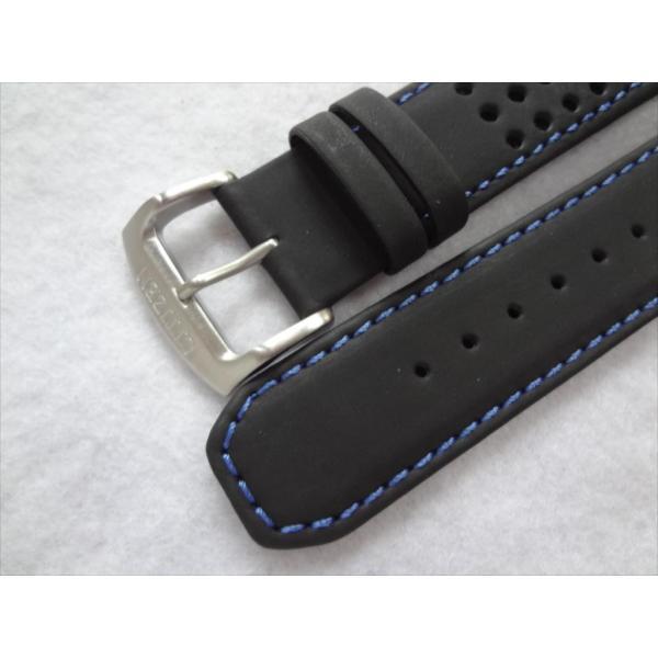 Citizen 純正 22mm 腕時計 レザーベルト Eco Drive AT7030-05E 用 バンド 黒/青
