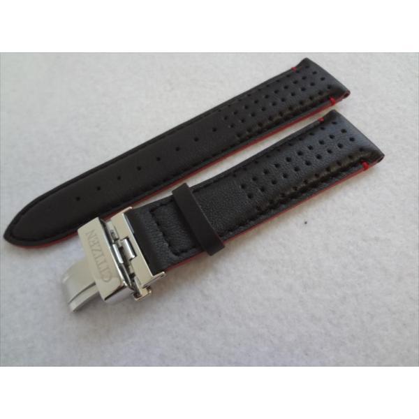 Citizen 純正 腕時計ベルト 23mm AT9036-08E 用レザーバンド 黒色 黒 ブラック/ 赤ステッチ(一部) プッシュ式Dバックル付 シチズン