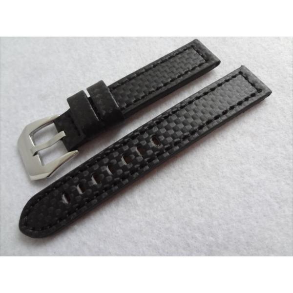 Diloy カーボンファイバー型バンド 18mm 腕時計ベルト フラット 黒色/黒 ブラック Carbon Fiber Style TECNO-FIBER