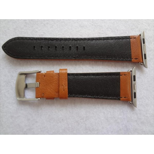 Marzi Poco Horween ホーウィン Chromexcel 25mm レザーバンド 42mm Apple Watch Series 1 & 2 用腕時計ベルト Royal Yellow(茶色)裏地:黒