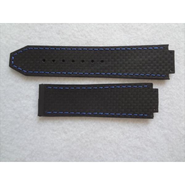 big sale 38d13 43dd3 ウブロ HUBLOT ビッグバン用バンド カーボンファイバー型押しデザイン ベルト 黒色/青色 黒/青ステッチ