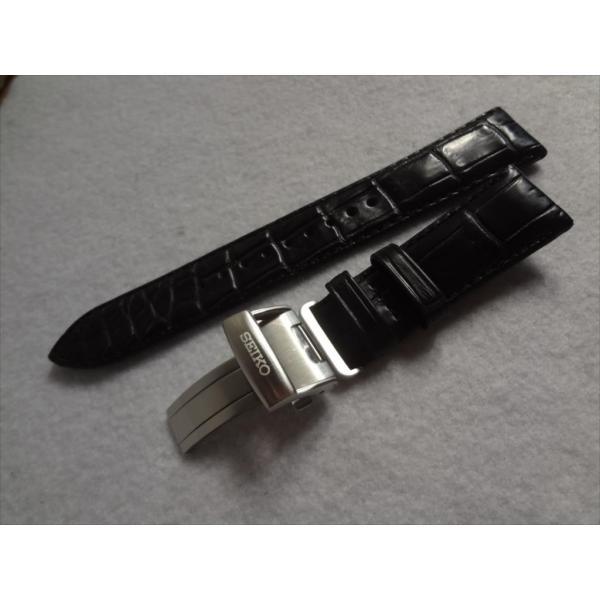 SEIKO純正バンド プレザージュ SARX049用 20mm レザーベルト クロコダイル 黒色 ブラック 黒バックル付き