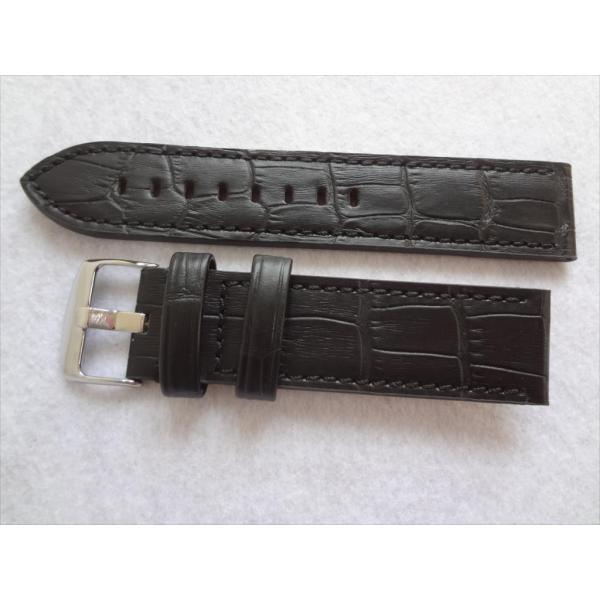 腕時計バンドパネライ用22mmレザーベルト黒色ブラック黒アリゲーター型押しデザインHadleyRoma