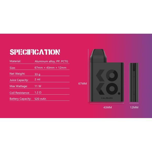 【選べる氷結リキッド15ml 2本付き!!】Caliburn KOKO Portable System Kit 520mAh 2ml カリバーン ココ 電子タバコ スターターキット ベイプ 本体  [M-8]|edgejp|05