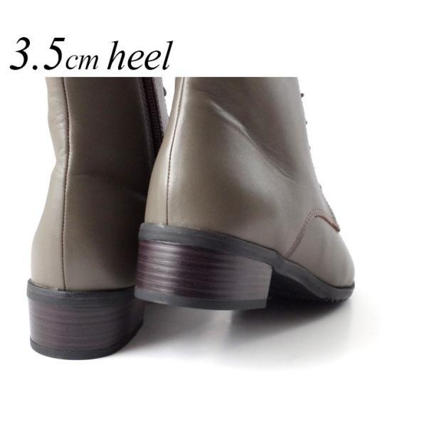 ブーツ レースアップ レディース 3.5センチ ヒール  アーモンド トゥ 本革 革 革靴 3E 卒業式 入学式 袴