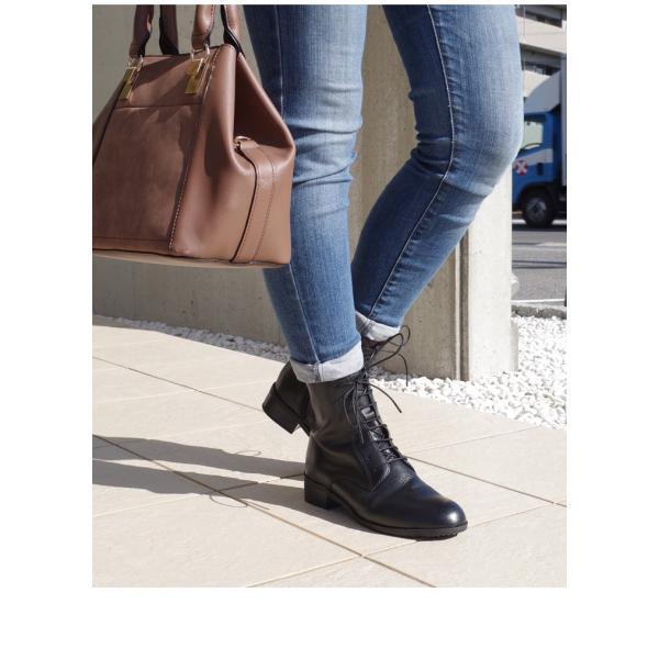ブーツ レースアップ レディース 3.5センチ ヒール  アーモンド トゥ 本革 革 革靴 3E 卒業式 入学式 袴 edie 18