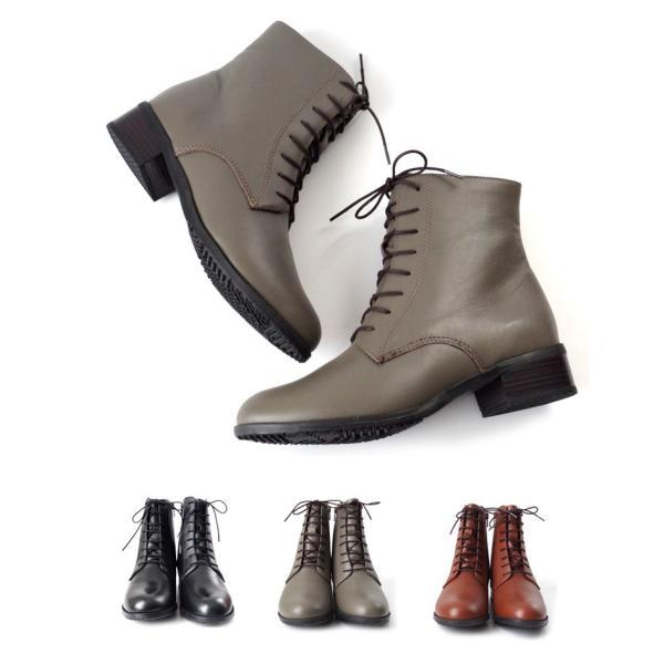 ブーツ レースアップ レディース 3.5センチ ヒール  アーモンド トゥ 本革 革 革靴 3E 卒業式 入学式 袴 edie 06