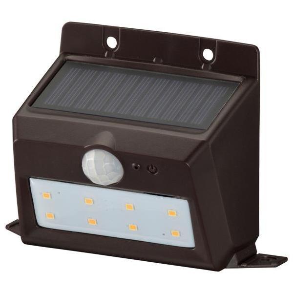 オーム電機 LEDセンサーウォールライト ソーラー式 ブラウン LS-S120PN4-T [LSS120PN4T]