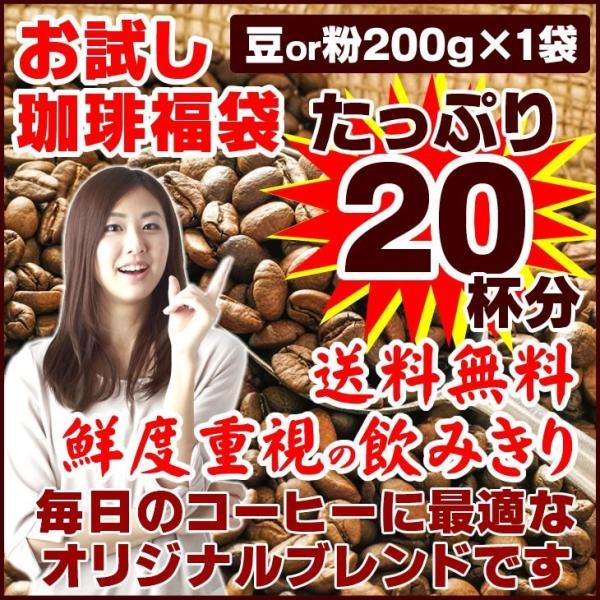 ポイント消化 コーヒー豆 オリジナルブレンド 珈琲 選べる 豆 中挽き 粉  20杯分 お試し 福袋 200g 送料無料 セール|edoshounin