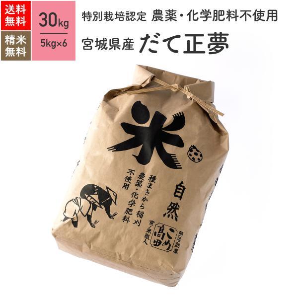 無農薬玄米 米 30kg だて正夢 宮城県産 特別栽培米 令和2年産