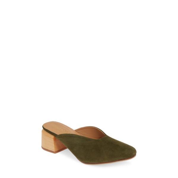 ジェームス スミス JAMES SMITH レディース サンダル・ミュール シューズ・靴 Cafe Society Mule Khaki Suede Suede