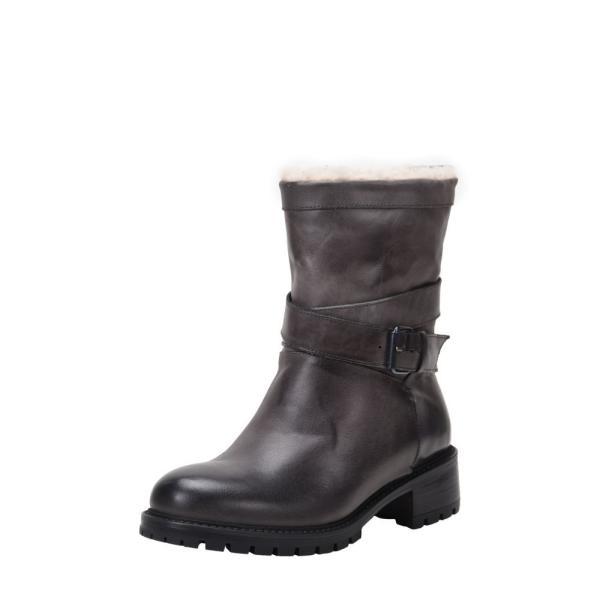 ロス & スノー ROSS & SNOW レディース ブーツ シューズ・靴 Genuine Shearling Lined Moto Boot Grey Leather