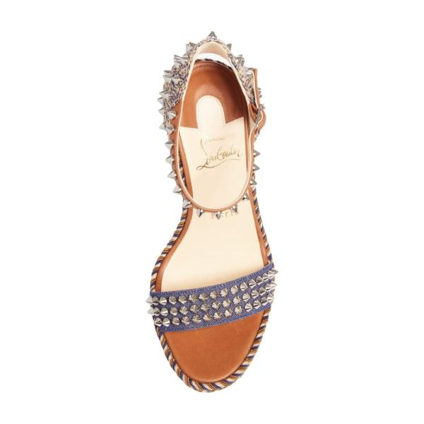 クリスチャン ルブタン CHRISTIAN LOUBOUTIN レディース サンダル・ミュール シューズ・靴 Madmonica Spike Wedge Sandal Blue/ Brown
