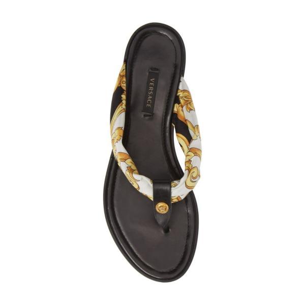 ヴェルサーチ VERSACE FIRST LINE レディース ビーチサンダル シューズ・靴 Hibiscus Flip Flop Black Multi