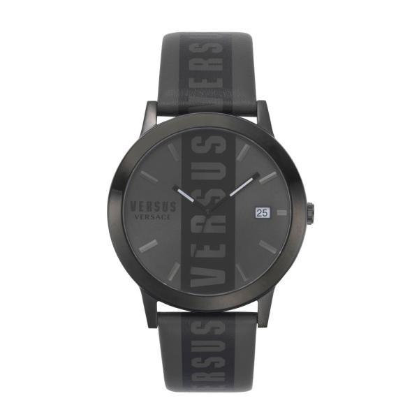 ヴェルサーチ VERSUS VERSACE レディース 腕時計 Barbes Logo Leather Strap Watch, 44mm Black