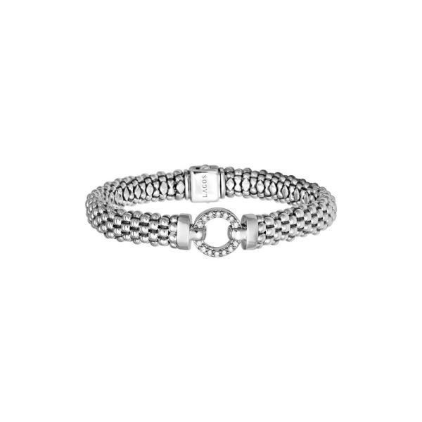 ラゴース LAGOS レディース ブレスレット ジュエリー・アクセサリー 'Enso - Circle Game' Diamond Caviar Rope Bracelet Silver