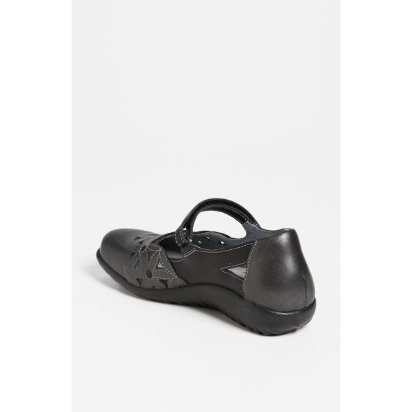 ナオト NAOT レディース スリッポン・フラット シューズ・靴 'Toatoa' Flat Black/ Metallic Leather