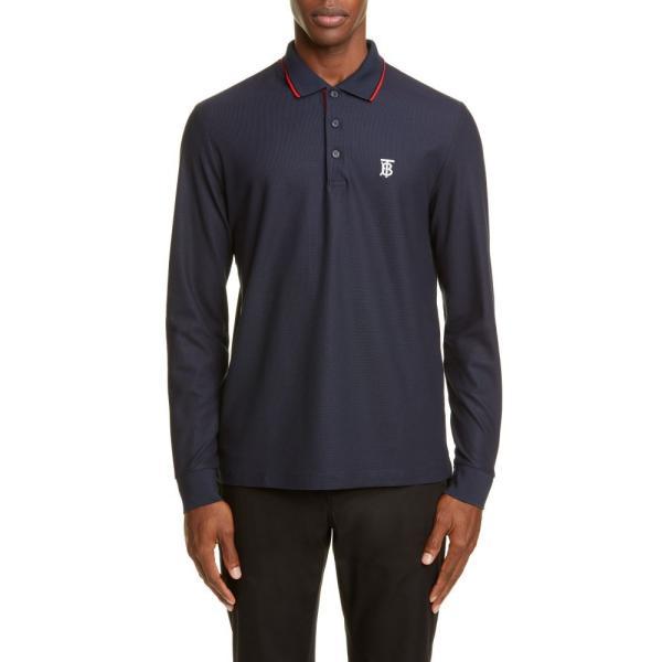 バーバリー BURBERRY メンズ ポロシャツ トップス Embroidered Monogram Long Sleeve Pique Polo Blue|ef-3