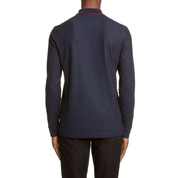 バーバリー BURBERRY メンズ ポロシャツ トップス Embroidered Monogram Long Sleeve Pique Polo Blue|ef-3|02