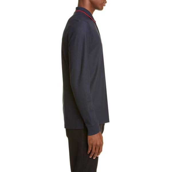 バーバリー BURBERRY メンズ ポロシャツ トップス Embroidered Monogram Long Sleeve Pique Polo Blue|ef-3|03