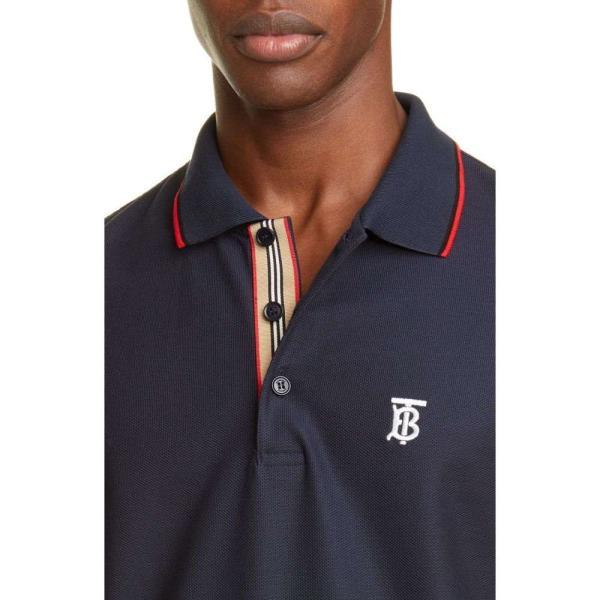 バーバリー BURBERRY メンズ ポロシャツ トップス Embroidered Monogram Long Sleeve Pique Polo Blue|ef-3|04