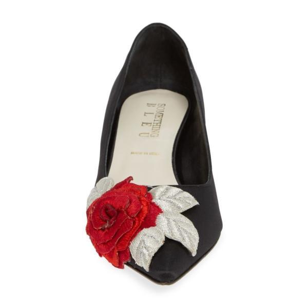 サムシング ブルー SOMETHING BLEU レディース パンプス シューズ・靴 Bo Floral Kitten Heel Pump Black Satin