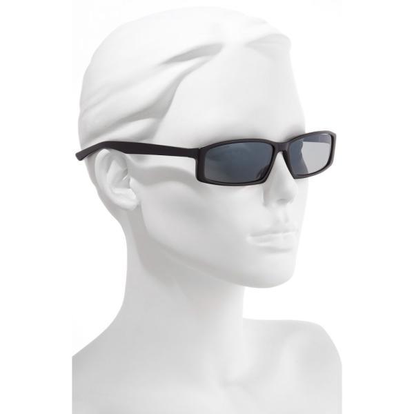 バレンシアガ BALENCIAGA レディース メガネ・サングラス 60mm Rectangle Sunglasses Shiny Black/ Grey