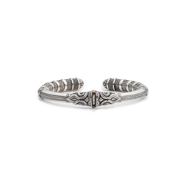 コンスタンティーノ KONSTANTINO レディース ブレスレット ジュエリー・アクセサリー Circe Black Spinel Hinged Cuff Bracelet Silver