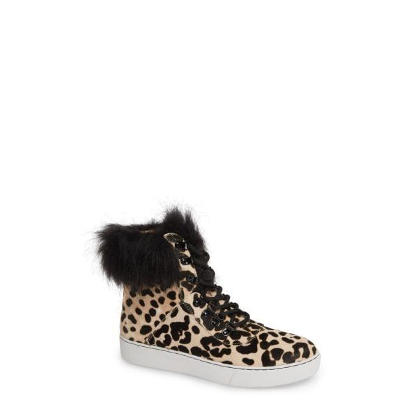 リネアパウロ LINEA PAOLO レディース スニーカー シューズ・靴 Gigi II Genuine Calf Hair & Faux Fur High Top Sneaker White/ Black Leopard Calf Hair