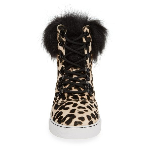 リネアパウロ LINEA PAOLO レディース スニーカー シューズ・靴 Gigi II Genuine Calf Hair & Faux Fur High Top Sneaker White/ Black Leopard Calf Hair