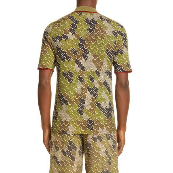 バーバリー BURBERRY メンズ ポロシャツ トップス Thorney Monogram Print Tipped Merino Wool Short Sleeve Polo Khaki|ef-3|02