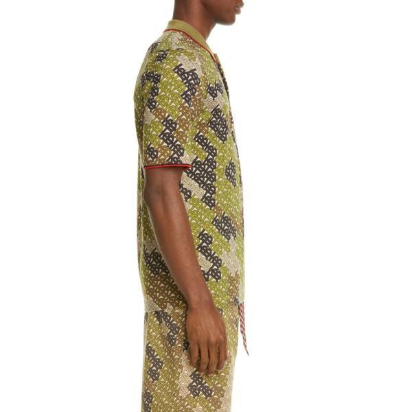 バーバリー BURBERRY メンズ ポロシャツ トップス Thorney Monogram Print Tipped Merino Wool Short Sleeve Polo Khaki|ef-3|03