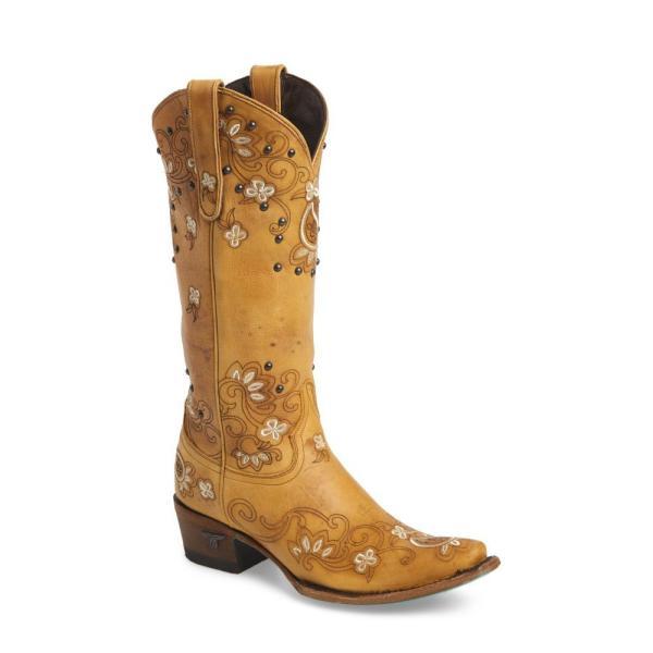 レーンブーツ LANE BOOTS レディース ブーツ シューズ・靴 Sweet Paisley Embroidered Western Boot Tan Leather