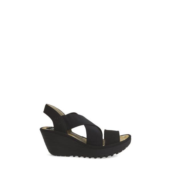 フライロンドン FLY LONDON レディース サンダル・ミュール シューズ・靴 Yaji Cross Wedge Sandal Black Leather