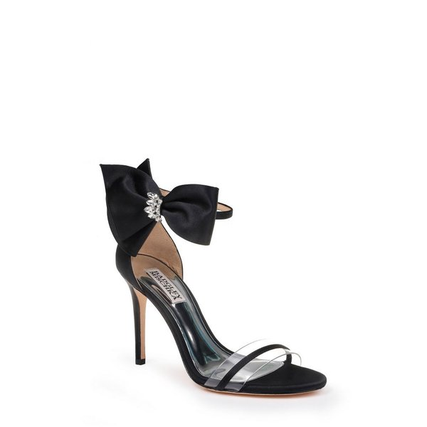 バッジェリー ミシュカ BADGLEY MISCHKA COLLECTION レディース サンダル・ミュール シューズ・靴 Badgley Mischka Fran Bow Ankle Strap Sandal Black Satin