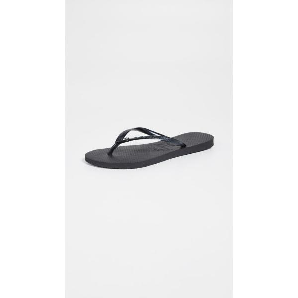 ハワイアナス Havaianas レディース ビーチサンダル シューズ・靴 Slim Crystal Glamour Flip Flops Black